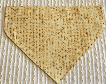 Passover Dog Bandana in Matzah Cracker print in Over the Collar Style XS to XL