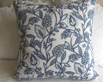 Pillow Cover 20x20 22x22 24x24 26x26 Navy/White decorative linen embroidered fabric with piping