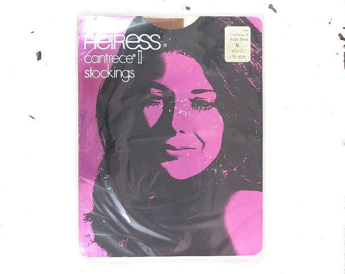 Vintage Nylon Stockings - 1970s Heiress Stretch Nylon Stockings Size 11 (XLarge) High Noon