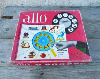 Vintage 1960/60s French game Allo j epelle  : Phone/letters/Alphabet/educational