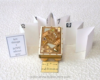 10 Things I (or We) Love (or Like) About You - keepsake box with booklet - Matchbox Art with gold collage in shades of gold