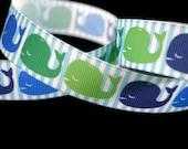 Whale Ribbon, Baby Shower Ribbon, Nautical Ribbon, Striped Ribbon, Preppy Ribbon, Boy Themed Ribbon, Dog Collar Ribbon, Ocean Ribbon