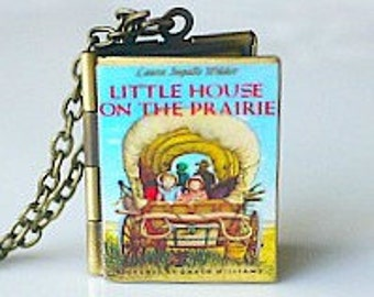 Little House on the Prairie, Laura Ingalls Wilder, Children's Literature, Classic Book, Childhood Book, Book Locket Necklace, Novel Locket