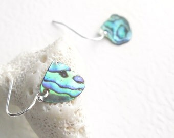 Natural Sea Shell Earrings, Green Paua Abalone Shell Jewelry