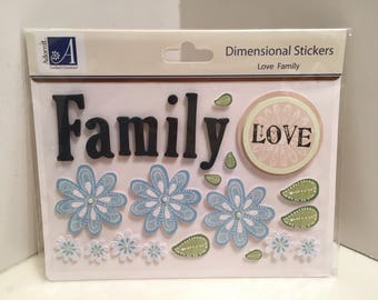 Stickers, Foam Stickers, Family, Love, 3D Stickers, Word Stickers, Papercraft, Paper and Party Supplies, Cards, Tags, Album, Journaling