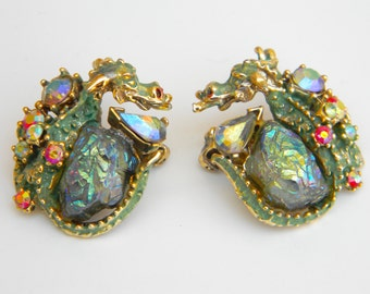 Vintage Signed HAR Green Enameled Rhinestone and Molded Glass Dragon Earrings
