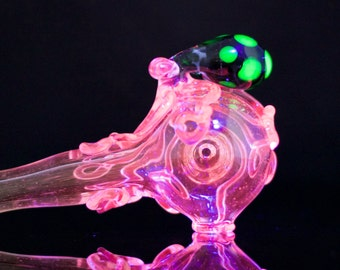 Octopus Large Tobacco Pipe  / Hand Blown Glass / Quality Spoon Pipe / American Made Glass / South Florida Purps UV LX / Ready to Ship #455