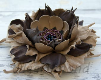 Fantasy   brooch.Leather flower. Leather brooch . Fantasy Leather jewelry