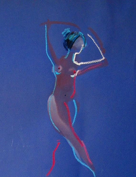 Nude painting of One minute pose 100.3 Original nude painting by Gretchen Kelly