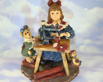 Boyds Bears Stitched With Love Figurine Yesterday's Child Barbara Ann with Jodi and Annie Collectible Sewing Machine Teddy All Original