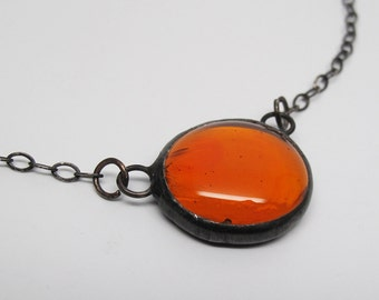 Orange Droplet - Stained Glass Nugget Necklace with Sterling Silver Chain