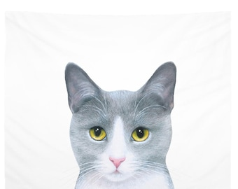 Wall Tapestry Wall Hanging Sofa Throw Cat 611 grey gray white Home Decor L.Dumas