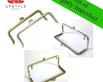 "SAVE 50% - Slightly Imperfect Clutch Purse Frames - Set of 5 Frames 8"" x 3"" Antique Brass and Nickel (silver)"
