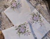 Pair Vintage Violets  Floral Pillowcases, Canon Gold Label