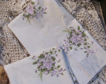 Pair Vintage Violets  Floral Pillowcases, Canon Gold Label
