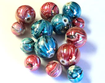 14 Acrylic Swirled Round Beads, 18mm and 10mm, Red & Blue Green,  Jewelry Supplies