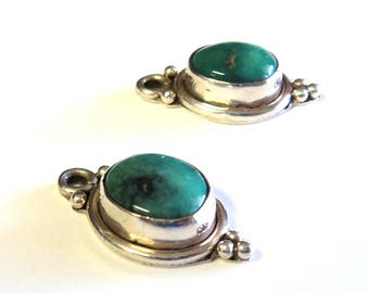 """1 Turquoise and Sterling Silver 1"""" Drops Charms Pendants, Jewelry Supplies, Findings"""