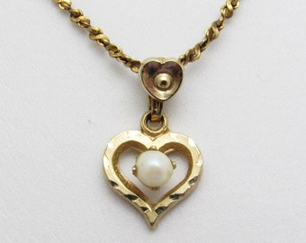 Vintage Pearl Heart Necklace Gold Filled Jewelry N7586