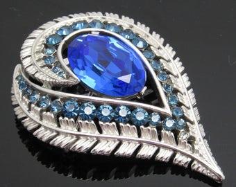 Blue Rhinestone Vintage Trifari Brooch Fifties Jewelry Something Blue B7703