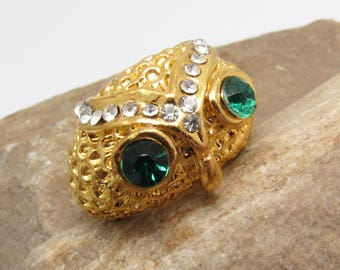 Rhinestone Owl Ring Vintage Bird Jewelry R7792