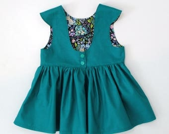 Emerald Peplum Top  Spring Sample Sale OOAK 3T RTS Toddler Tea Party Style