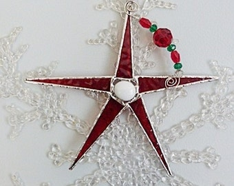 Traditional Christmas, Holiday Red, Glass Star, Whimsical Ornament, Small Suncatcher, Limited