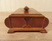 Beautiful vintage footed wood trinket or jewelry box with wood lid- marked Maksla (Latvia)- fine condition, ornate