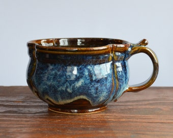 Lobed Soup bowl, hand made ceramic, cappuccino mug, chili onion soup crock, glazed in brown blue, handmade stoneware by hughes pottery