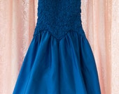 Vintage Dress - 80s Bridesmaid Prom Bows Rhinestones Cocktail Royal Blue