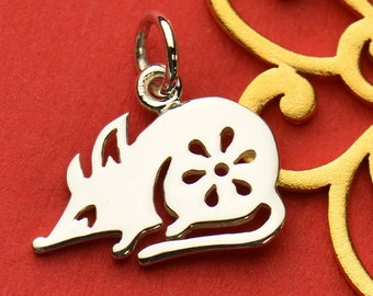 The Rat Necklace - Solid 925 Sterling Silver Chinese Zodiac Year of the Rat Charm - Insurance Included