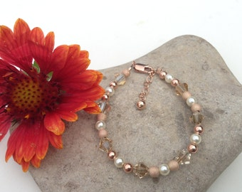 Rose Gold Flower Girl Bracelet- Champagne Swarovski Crystal, Rose Gold, Swarovski Pearls