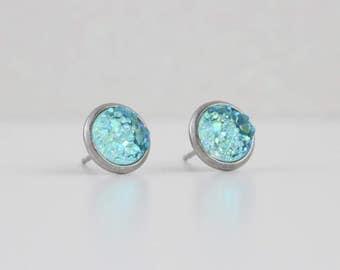 Aqua Lagoon Druzy Crystal Earrings | ATL-E-159
