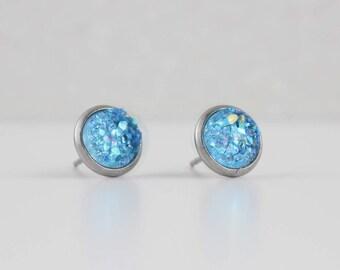 Azure Blue Druzy Crystal Earrings | ATL-E-158