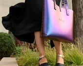 Cobalt Iridescent Tote Bag | Blue to Purple Tote | Vegan | Made in USA