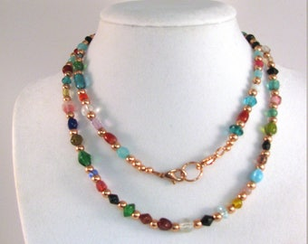 Copper and Glass Bead Necklace 28 inches, RKMixables Copper Collection RKM537
