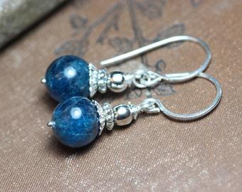 Apatite Earrings Blue Gemstone Earrings Sterling Silver Earrings Blue Earrings Rustic Jewelry