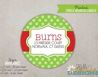 Lime Green Polka Dot Christmas Return Address Label, Modern Personalized Envelope Seal Sticker