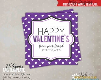 Custom Purple Valentine Party Card Tag, Printable DIY Template, Purple Hearts - Instant Download