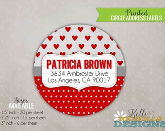 Valentine's Personalized Circle Return Address Labels, Red Hearts and Polka Dots