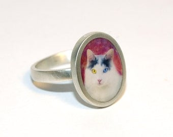 Custom Sterling Silver Oval Photo Ring