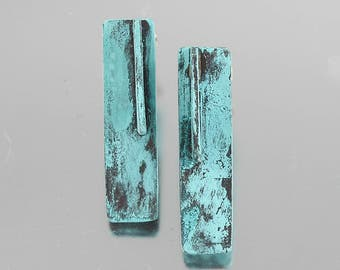 Aqua Blue Patinated Three Dimensional Ear Studs