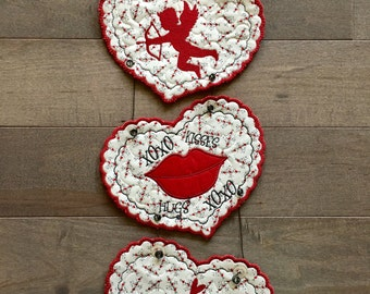 Quilted VALENTINE Wall Hanging  . . . 3 Satin Stitched Scalloped  Hearts . . . Hugs and Kisses . . . Decorate Your Walls