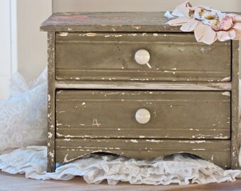 Vintage Shabby Chic Adorable......Hand Made Perfectly Chippy Double Drawer Doll Dresser