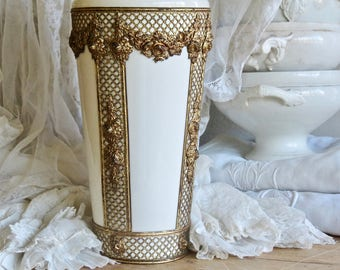 Vintage Shabby Chic Perfection......Cream Vase With Brass Rose Gesso Overlay