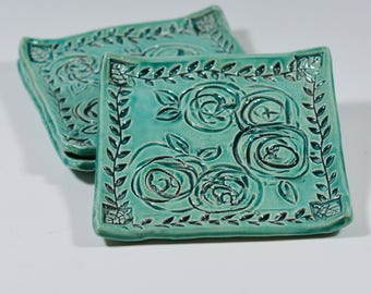 Turquoise Ceramic Tray - Roses - Ring Dish - Spoon Rest - Handmade