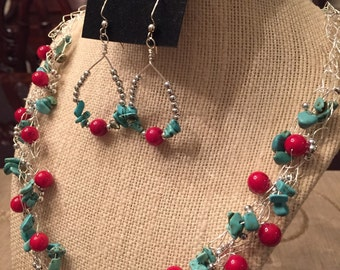 Turquoise Crochet Necklace Set