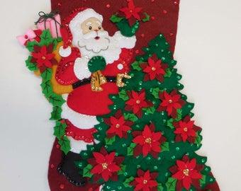 Finished Christmas Stocking - Santa Poinsetta Tree