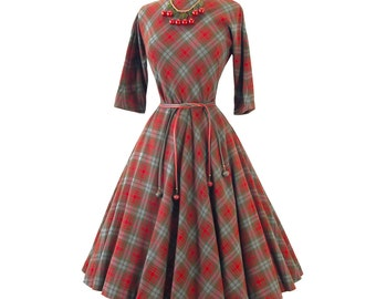 vintage 1950's dress ...classic wool PLAID full CIRCLE skirt bombshell pin-up dress with original ACORN belts