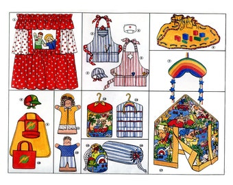 Childrens Playroom Accessories Pattern Hand Puppet Theater Kids Apron Superhero Cape Table Tent Hats Sunrise Playland Vintage Sewing Pattern