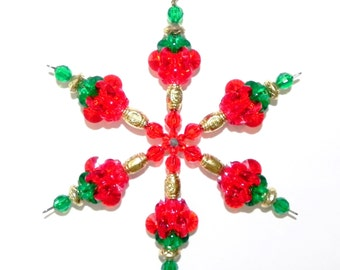 Christmas Snowflake  Ornament Suncatcher - Plastic Acrylic Starflake Beads Red Green Brass    #201